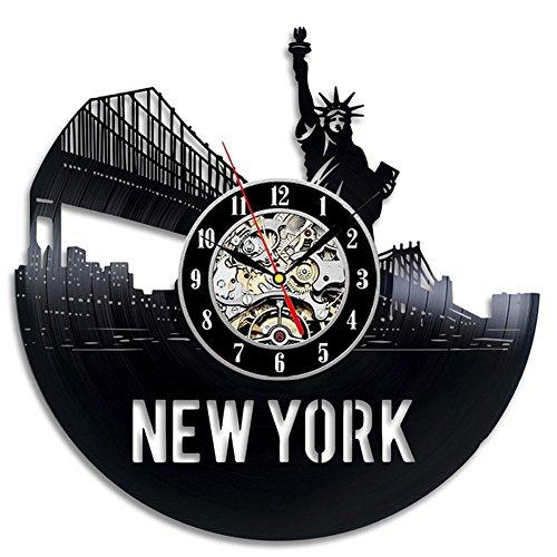 YUN Clock@ Wanduhr aus Vinyl Schallplattenuhr Upcycling Freiheitsstatue Design-Uhr Wand-Deko Vintage Familien Zimmer Dekoration Kunst Geschenk Schwarz, Durchmesser 30 cm