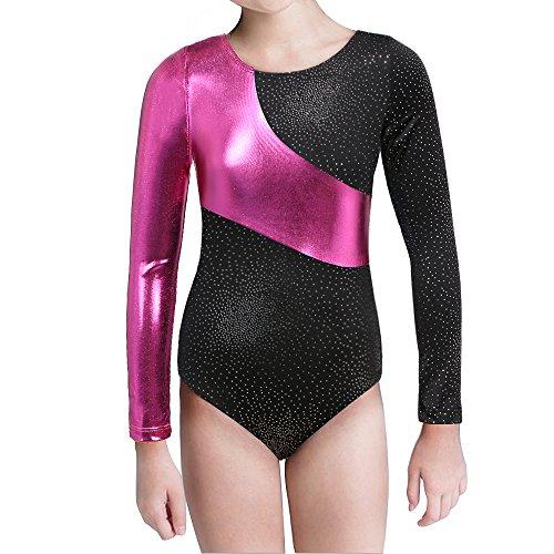 Girl Freitag Kostüm - Mädchen Gymnastik-Turnanzug Tanzkleidung lange Ärmel Regenbogen Streifen zum 2-15 Jahre (Black, 170(14-15T))