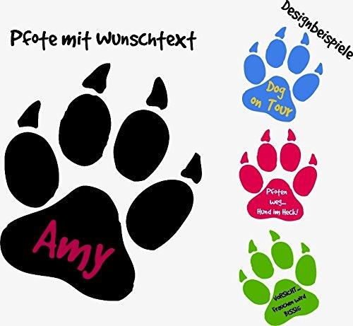 ***NEU*** Hunde Pfote mit Ihrem Wunschtext (freie Farb.- und Größenauswahl)