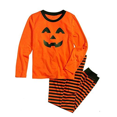 Eltern Kind Kostüm Halloween Eltern Kind Anzug Smiley Print Home Service Familien Pyjama Set mit Halloween Kürbismuster Bluse und gestreifter - Smiley Baby Kostüm
