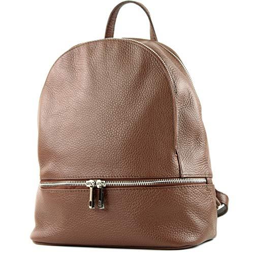 modamoda de - T137 Leder - ital Damen Rucksack Leder oder Nappaleder, Farbe:T137Leder-Braun