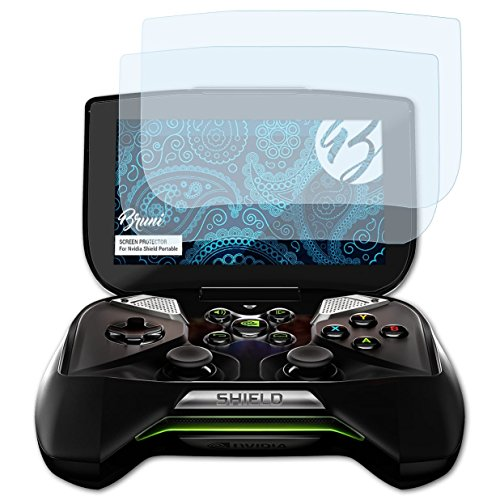 Bruni Schutzfolie kompatibel mit Nvidia Shield Portable Folie, glasklare Displayschutzfolie (2X) 4g Shield