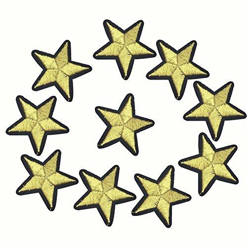 MoGist 10 Stück goldene fünfzackige Sterne Stoff bestickt Patches Aufnäher Aufbügeln oder Aufnähen für Bekleidung Rucksäcke T-Shirts Jeans Rock Weste Schal Mütze