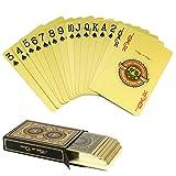 joyoldelf Doppelseitige goldene Spielkarten, Kunststoff PVC wasserdicht Kartenspiel mit Geschenkbox, Verwendung für Party, Klub und Outdoor-Aktivitäten