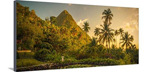 St Lucia, Soufriere, Sugar Beach Resort, Formerly Jalousie Plantation Resort and Gros Piton Bedruckte aufgespannte Leinwand von Alan Copson - 61x122 cm