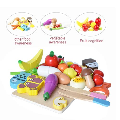 HOWADE Play Food Set Wooden Cutting Food Magnetic Fruits and Vegetables Kitchen Set Educational Toy for Preschool Age Kids Toddlers Boys Girls