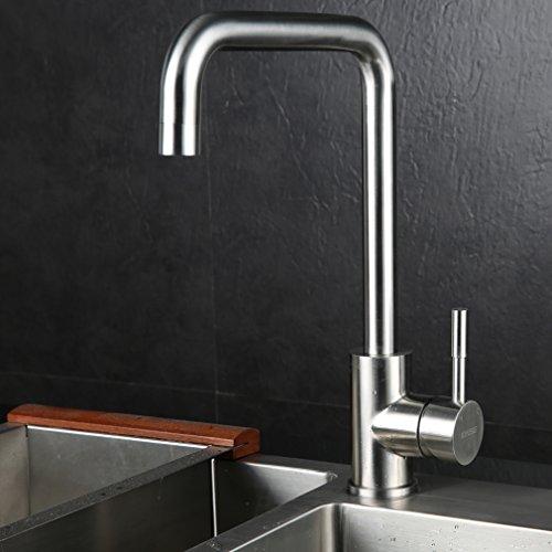 Kinse® Kalsischdesign 360° Schwenkbarer 7 Form Einhebel Küchen Spültisch Armatur Spüle Wasserkran aus Edelstahl SUS304 mit ABS Gasspüler Kann Wasser 30% Sparen für Küche