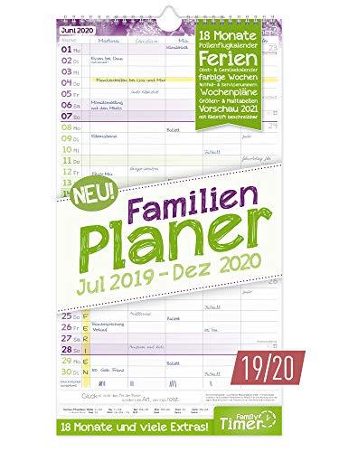 FamilienPlaner 2019/2020 mit 5 Spalten, 23 x 42 cm | Wandkalender für 18 Monate: Juli 2019 - Dezember 2020 | Familienkalender Wandplaner: Ferientermine, viele Zusatzinfos + Vorschau bis März 2021 (Kalender Planer)