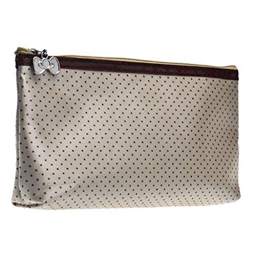 Fulltime® 1PC Femmes Dot Round Maquillage Portable Storage Bag avec miroir