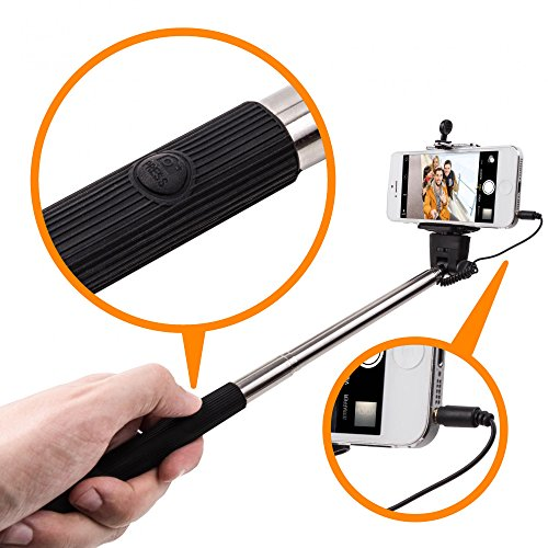 Movoja Selfie Stick Monopod Selfie Stick AUX Bar Galaxy Smartphone Edge S6 / S5 / S6 / S5 Mini and Apple iPhone 6 and 6 Plus 3 iPhone 3GS iPhone 4 4s iPhone 5S / 5 line / S4 / S4 Active / S3 / S3Mini (Bluetooth Für Iphone 3gs)