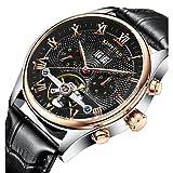 XKC-watches Herrenuhren, KINYUED Herrn Mechanische Uhr Armbanduhr Totenkopfuhr Kleideruhr Automatikaufzug Kalender Chronograp