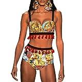 Rawdah- Bikini Donna Africano Stampare Bikini Mare Push up,2PCS Sexy Nappa Costume da Bagno Intero Piscina Sportivo tezenis Costumi da Bagno Mare Beachwear Swimwear (Giallo, S)