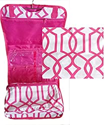 Cosmetic Makeup Hanging Travel Suit Case Roll Organizer Pink White Geometric