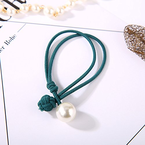 4745 Grün (XXAICW Einfache handgeknüpften Perle Haut Haar Kreis Krawatte Haar Schmuck Gummiband Haar Seil Haargummis Kopfschmuck set 4745- Grün)