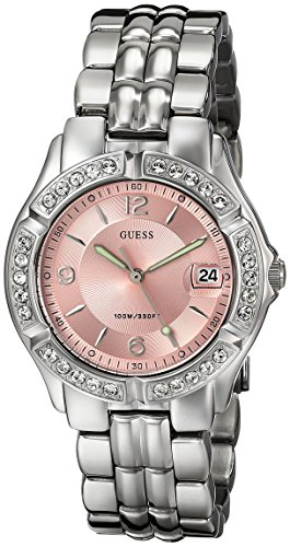 Guess Women's G75791M Silver Stainless-Steel Quartz Watch with Pink Dial