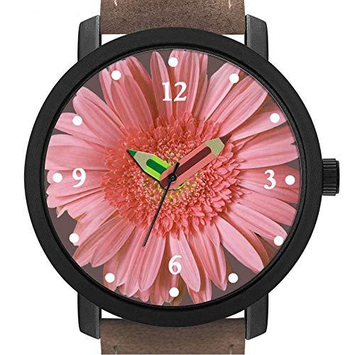 Geschenk für Erwachsene | Kinder | Geburtstag | Stilvolle niedliche Armbanduhr mit Bleistift Form Pointer Ornament Geschenk 3.Pink Gerber Daisy Watch -