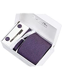 Coffret Cadeau Ensemble Cravate homme, Mouchoir de poche, épingle et boutons de manchette violet a points roses