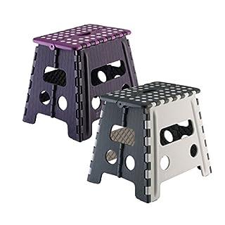 axentia Plastic Small, Home, Bathroom & Kitchen Anti Slip Folding Step Stool in Purple & Grey - Maximum 155 kg, 31 x 21.5 x 32cm