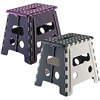 Preisvergleich für axentia Klappbarer Sitzhocker-Klapphocker 150 kg Traglast, Plastik, Grau / Lila, 45 x 37 x 4,5 cm