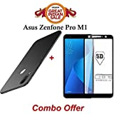 Faadu Engineer ®Combo Offer Rubberised Matte 360 Degree Hard Sleek Case Cover And Edge-Edge Full Screen Tempered Glass For ASUS ZenFone Max Pro M1 (Black)