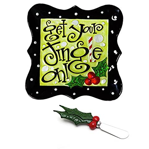 Get Your Jingle On Glass Platter with Spreader