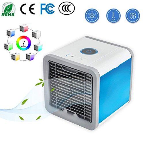 Foto de LEN Aire Acondicionado Portátil De Aire Ártico Mini Aire Acondicionado De 3 Ventilador Con 1 USB Enfriador De Aire Personal Purificador Y Humificador De Aire Con Luces Del LED De 7 Colores Ventilador De Aire Frío De Escritorio Para Casa Oficina Dormitorio
