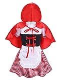 IINIIM Halloween Costume Maidservant Cosplay Robe de Party Plaid + Manteau Rouge Bébé Fille 6-24 Mois (18-24 Mois, Rouge)