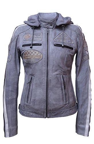 Groß Und Hoch Kapuzen-jacke (Damen Motorradjacke mit Protektoren, Grau, Große : 2XL)