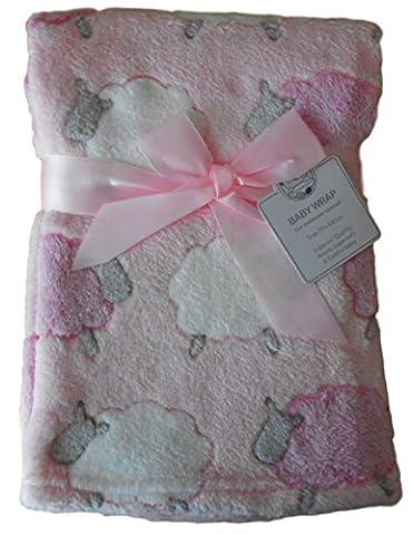 Bébé fille rose blanc et gris moutons animaux Couverture de 75cm x 100cm environ