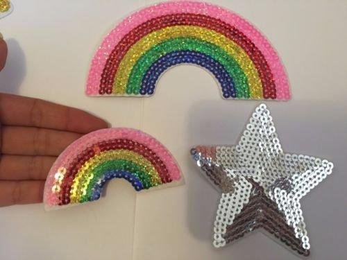 3 parches de lentejuelas con parche de estrella arcoíris para planchar en la costura, insignia caliente, Reino Unido