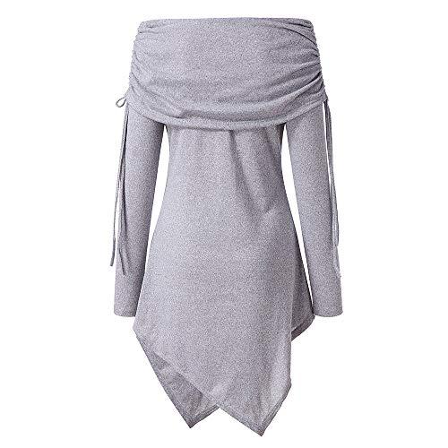 Fghyh Damen Sweatshirt Langarm ShirtWomens Plus Size Solid Geraffte Lange Foldover Kragen Tunika Top Bluse(3XL, Grau) - Schwarz Jersey Geraffte Kleid