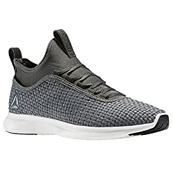 Reebok Mens Plus Runner Woven Running Shoe, Ironstone/Chalk/Black, 8. 5 M US
