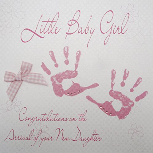 WHITE COTTON CARDS Pink Handabdrücke Little Baby Girl Congratulations on The Arrival of Your Tochter von Hand New Baby Karte