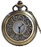 #10: LMP3Creation Classic Vintage Retro Antique Bronze Finish Lovely Beautiful Skeleton Hollow Leaf Design Pocket Watch With Chain (POW-00185)