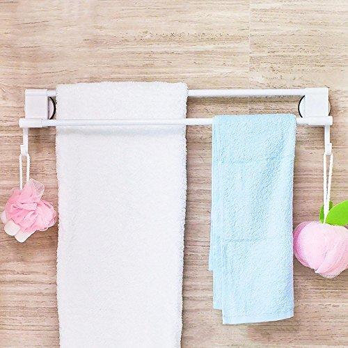 Maintain portasciugamani da parete porta asciugamani bagno da muro ventosa super battente a doppia barra fissa in acciaio fissata al muro, 59 cm