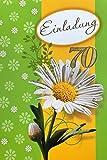 Einladungskarten 70. Geburtstag Frau Mann ohne Innentext Motiv grün weiße Blume 10 Klappkarten im Hochformat mit weißen Umschlägen im Set Geburtstagskarten Einladung 70 Geburtstag Mann Frau K103