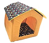 Dog Lovers Designer Printer Velvet Fabric Puppy House Foldable Pet Hut Small Color & Design May Vary