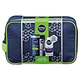 Nivea Men Active Wash bag Gift Pack include energia gel doccia 250 ml, proteggere invisible deodorante 150 ml e Nivea Men Sensitive Moisturiser 75 ml