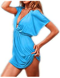 Aolevia Damen Deep V Strandkleid Sommer Kleid Beach Kleid 9 Färben Auswählbar DE32-38