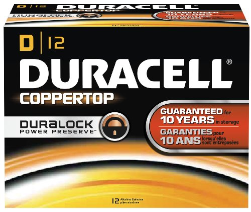 CopperTop Alkaline Batteries with Duralock Power Preserve Technology, D, 12/Pack - Coppertop Alkaline-batterien