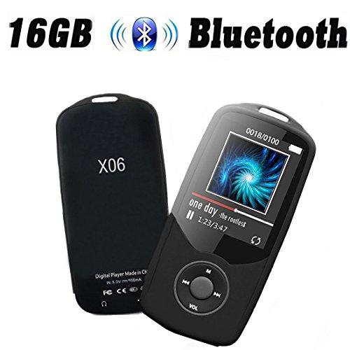 Cfzc Bluetooth-MP3-Player, 16GB, 50Stunden Wiedergabe, tragbarer Media-Player (unterstützt bis zu 64GB), Schwarz