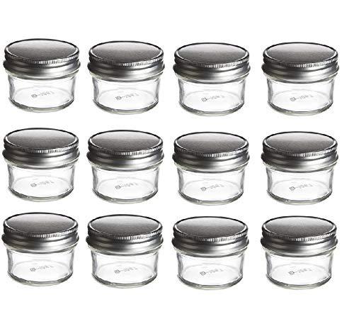 nakpunar 12PCS 4Oz Mason Gläsern 4Oz mit einem Stück silber plastisol gefüttert Deckel