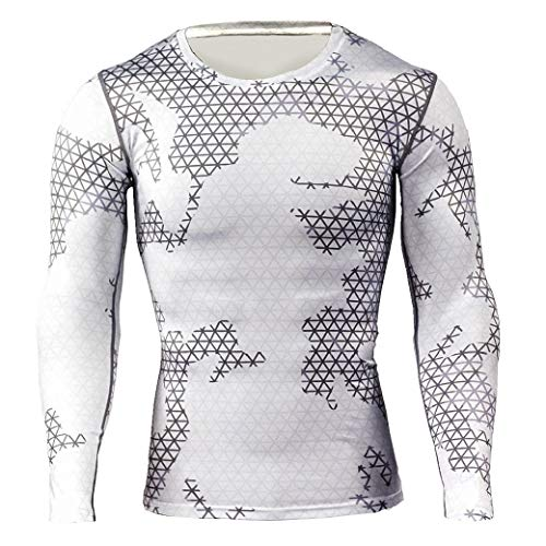 VITryst Men Cool Dry Long Sleeve Quick Drying Soft Skin Tight Shirt Tee White S - Weiß Long Sleeve Thermal Tee