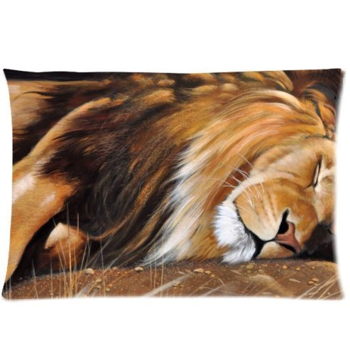 Amxstore Cotton Polyester Decorative Throw Pillow Cover Cushion Case Pillow Case lion mane animals cats wild carnivores dream (Lions Polyester)