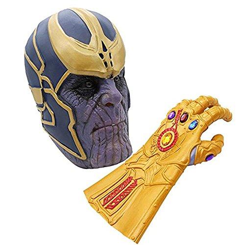 (MIMINUO Avengers Infinity Krieg Cosplay Thanos Maske Halloween Kostüm Party Requisiten Deluxe Latex Gesichtsmaske mit Infinity Gauntlet Handschuh)