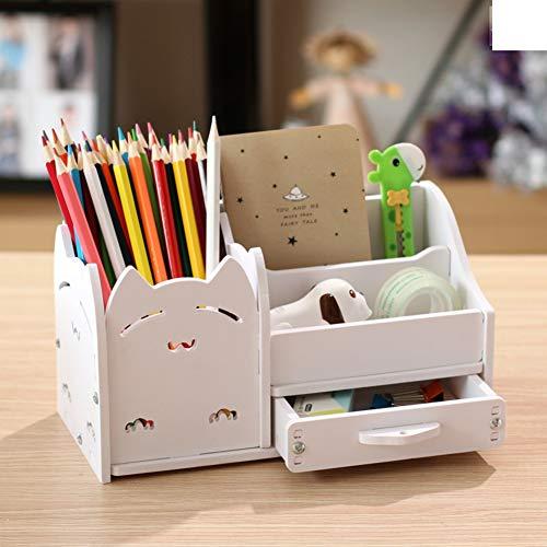 Multi-funktions Stifthalter, Kreativstift veranstalter student süße schreibwaren schreibtisch organizer büro stift bleistift halterschale-weiße Katze 22x11x12cm(9x4x5inch) -