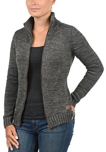 DESIRES Phenix Damen Strickjacke Grobstrick Cardigan Strickcardigan mit Reißverschluss Und Stehkragen Aus 100% Baumwolle, Größe:XS, Farbe:Dark Grey (2890) - 3