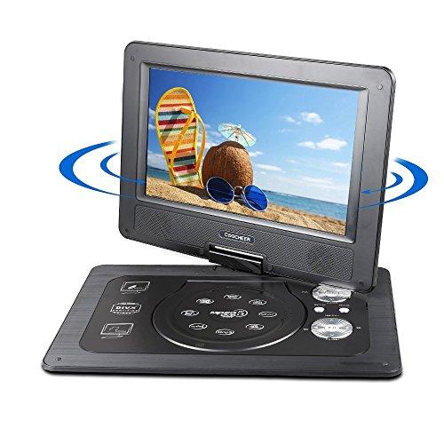 10,1'' Tragbarer DVD-Player 5 Stunden Akku Drehbarem Display Kinder Rücksitz DVD Player,Unterstützt SD-Karte USB AV OUT/IN mit 1.8M Auto-Ladegerät und Stromadapter (Schwarz)
