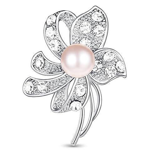Alliage Galvanoplastique Broche, Micro Pave Diamant Tcheque Fleur Datura avec Perle d'Imitation Rose, Argent, 40x27mm