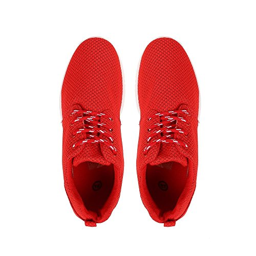 Ideal Shoes–Baskets In Maglia Stile Running Joella Rosso